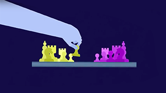 Animated hand playing chess