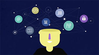 Animation showing a person's head open with various cyber and tech symbols floating around above