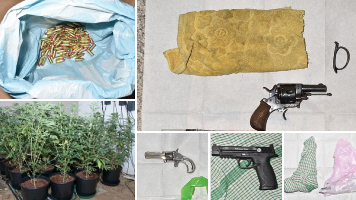 collage of guns, cannabis and ammunition