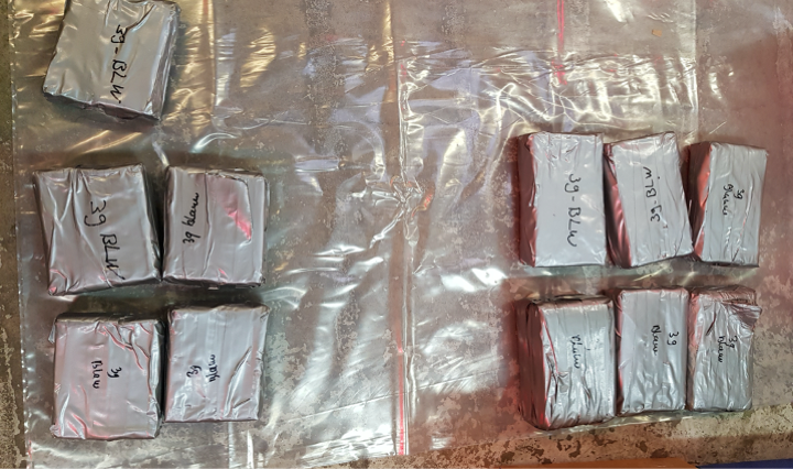 Image showing seized heroine that has been wrapped up