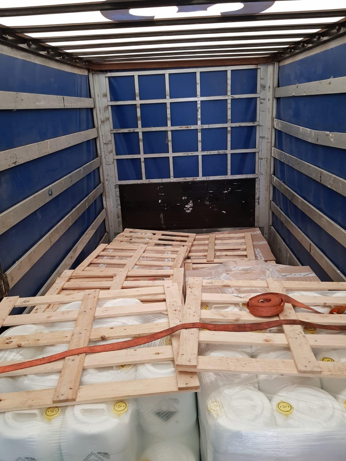 Pallets inside lorry