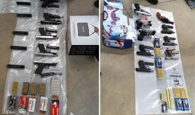 56 guns recovered in international firearms operation: 13 suspects arrested, 80kg heroin seized